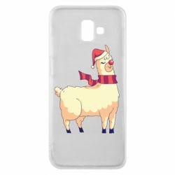 Чехол для Samsung J6 Plus 2018 Yellow llama in a scarf and red nose
