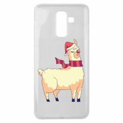 Чехол для Samsung J8 2018 Yellow llama in a scarf and red nose