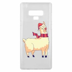 Чехол для Samsung Note 9 Yellow llama in a scarf and red nose