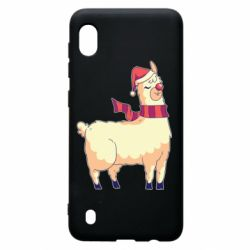 Чехол для Samsung A10 Yellow llama in a scarf and red nose