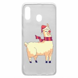Чехол для Samsung A20 Yellow llama in a scarf and red nose