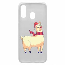 Чехол для Samsung A40 Yellow llama in a scarf and red nose