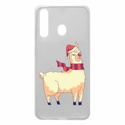 Чехол для Samsung A60 Yellow llama in a scarf and red nose