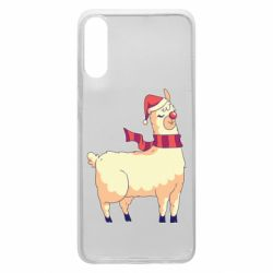 Чехол для Samsung A70 Yellow llama in a scarf and red nose