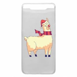 Чехол для Samsung A80 Yellow llama in a scarf and red nose
