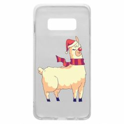 Чехол для Samsung S10e Yellow llama in a scarf and red nose