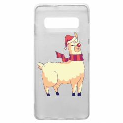 Чехол для Samsung S10+ Yellow llama in a scarf and red nose
