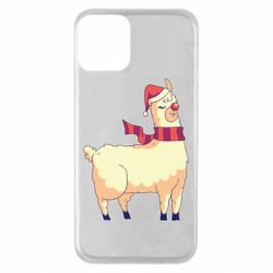Чехол для iPhone 11 Yellow llama in a scarf and red nose