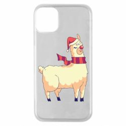 Чехол для iPhone 11 Pro Yellow llama in a scarf and red nose