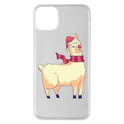 Чехол для iPhone 11 Pro Max Yellow llama in a scarf and red nose