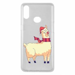 Чехол для Samsung A10s Yellow llama in a scarf and red nose