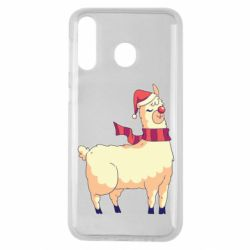 Чехол для Samsung M30 Yellow llama in a scarf and red nose