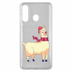 Чехол для Samsung M40 Yellow llama in a scarf and red nose