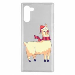 Чехол для Samsung Note 10 Yellow llama in a scarf and red nose