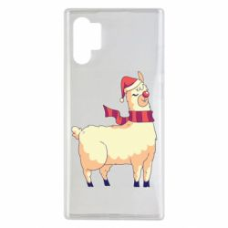 Чехол для Samsung Note 10 Plus Yellow llama in a scarf and red nose