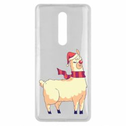 Чехол для Xiaomi Mi9T Yellow llama in a scarf and red nose
