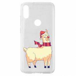 Чехол для Xiaomi Mi Play Yellow llama in a scarf and red nose
