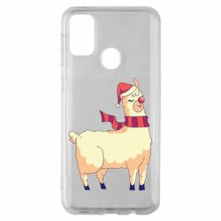 Чехол для Samsung M30s Yellow llama in a scarf and red nose