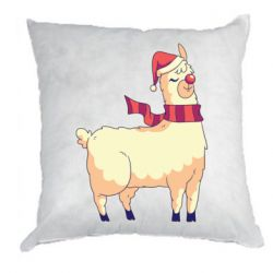 Подушка Yellow llama in a scarf and red nose