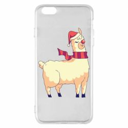 Чехол для iPhone 6 Plus/6S Plus Yellow llama in a scarf and red nose