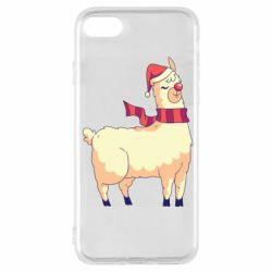 Чехол для iPhone 7 Yellow llama in a scarf and red nose