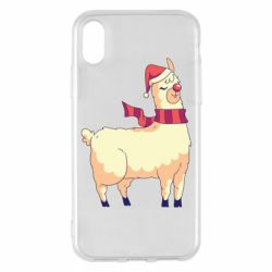 Чехол для iPhone X/Xs Yellow llama in a scarf and red nose