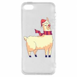 Чехол для iPhone5/5S/SE Yellow llama in a scarf and red nose