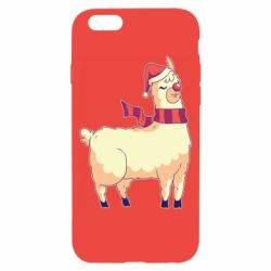 Чехол для iPhone 6/6S Yellow llama in a scarf and red nose