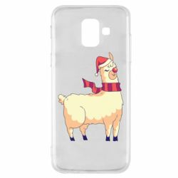 Чехол для Samsung A6 2018 Yellow llama in a scarf and red nose