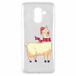 Чехол для Samsung A6+ 2018 Yellow llama in a scarf and red nose