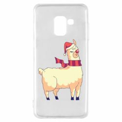 Чехол для Samsung A8 2018 Yellow llama in a scarf and red nose