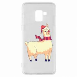 Чехол для Samsung A8+ 2018 Yellow llama in a scarf and red nose