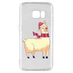 Чехол для Samsung S7 Yellow llama in a scarf and red nose