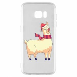 Чехол для Samsung S7 EDGE Yellow llama in a scarf and red nose