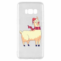 Чехол для Samsung S8 Yellow llama in a scarf and red nose
