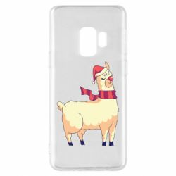Чехол для Samsung S9 Yellow llama in a scarf and red nose