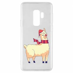 Чехол для Samsung S9+ Yellow llama in a scarf and red nose