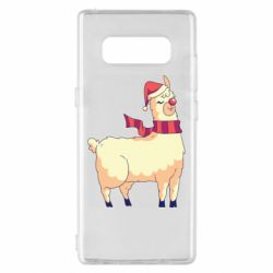 Чехол для Samsung Note 8 Yellow llama in a scarf and red nose