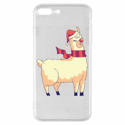 Чехол для iPhone 8 Plus Yellow llama in a scarf and red nose