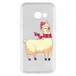Чехол для Samsung A3 2017 Yellow llama in a scarf and red nose