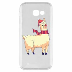 Чехол для Samsung A5 2017 Yellow llama in a scarf and red nose