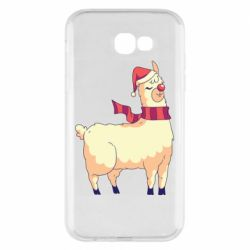 Чехол для Samsung A7 2017 Yellow llama in a scarf and red nose