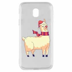 Чехол для Samsung J3 2017 Yellow llama in a scarf and red nose