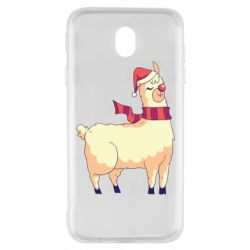 Чехол для Samsung J7 2017 Yellow llama in a scarf and red nose