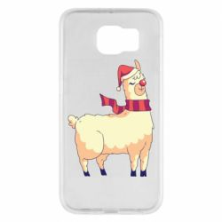 Чехол для Samsung S6 Yellow llama in a scarf and red nose