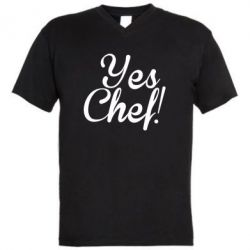 Мужская футболка  с V-образным вырезом Yes, Chef!