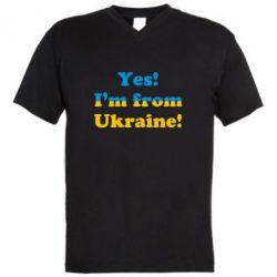 Мужская футболка  с V-образным вырезом Yes, I'm from Ukraine