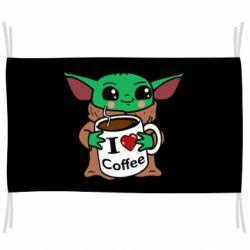 Флаг Yoda and a mug with the inscription I love coffee