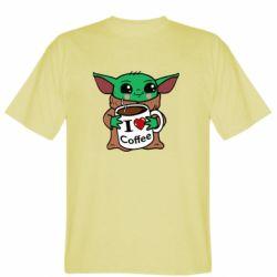 Мужская футболка Yoda and a mug with the inscription I love coffee