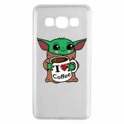 Чехол для Samsung A3 2015 Yoda and a mug with the inscription I love coffee